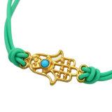 Armbanden van het Koord van het Leer van Hamsa van het Oog van de gouden-kleur de Kwade Rode/Groene/Witte