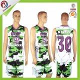 昇華させたカスタム卸売デザイン色刷のバスケットボールのジャージはバスケットボールのユニフォームをカスタマイズした