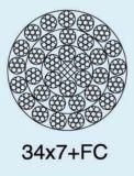 Non вращая гальванизированная веревочка стального провода 34X7+FC