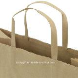 Sacs normaux respectueux de l'environnement de cadeau de papier de Brown emballage avec les traitements plats