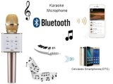 O karaoke Handheld do microfone + do altofalante Bluetooth do metal sem fio de Q7 canta novo