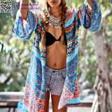 女性方法Bohoの緩く白い夏の方法浜のカーディガンL38477