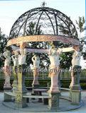 Gazebo de mármol de piedra del jardín con la tapa del arrabio (GR034)