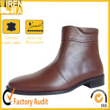 Brown Leather Miliitary Office Ankle Boots