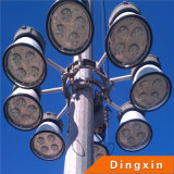 iluminação elevada do mastro do diodo emissor de luz de 15m com a lâmpada de inundação do diodo emissor de luz de 3PCS 200W para a terra do futebol