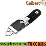 Palillo negro de la memoria del mecanismo impulsor del flash del cuero del asunto de USB2.0 128GB