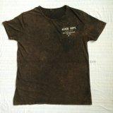 O t-shirt de lavagem de Brown do verão na malhas do esporte do homem veste Fw-8674