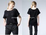 Maglietta rotonda delle donne allentate del collo di colore puro vuoto di modo