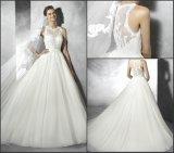 Vestido de casamento feito sob encomenda simples A125 de Tulle do laço Sleeveless dos vestidos nupciais