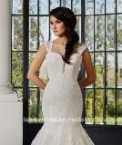 O tampão Sleeves o vestido de casamento cheio feito-à-medida G17286 da sereia do laço dos vestidos nupciais do laço
