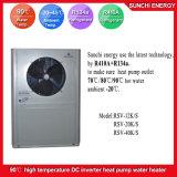 Amb. Pompa termica a temperatura elevata aria-acqua dell'acqua calda R134A +R410A della presa 90c del tempo di -20c per il riscaldamento domestico del radiatore