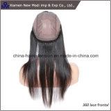 Frontal brasileiro do laço do cabelo humano 360