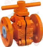 Norme pneumatique de norme ANSI de robinet à tournant sphérique rayé de la ligne centrale PFA