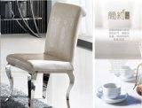 스테인리스 크롬 다리를 가진 현대 이탈리아 가죽 까만 식사 의자