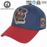 La alta calidad bordada insignia modificada para requisitos particulares de la tela cruzada del algodón se divierte la gorra de béisbol azul