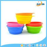 Tazón de fuente plegable del animal doméstico del silicón de categoría alimenticia multicolor