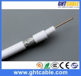 0.7mmccs, 4.8mmfpe, 32*0.12mmalmg, Od: PVC Coaxial Cable RG6 di 6.6mm Black