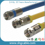 Connecteur de compactage de F pour le câble coaxial de liaison Rg59 RG6 Rg11 (F037B) de rf