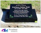 Pierre tombale plate personnalisée de borne de granit de noir de nature avec la spéléologie