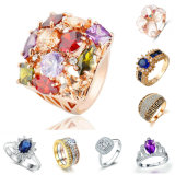 형식은 금 스테인리스 티타늄 구리 925 순은 결혼 반지에 있는 보석 공장 여자 남자 원석 다이아몬드 교전 반지를 둥글게 된다