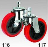 Rote PU-Schwenker-Stecker-Oberseite-Fußrolle