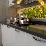 Module de cuisine en bois modulaire blanc moderne de PVC de la livraison rapide (OP14-K009)
