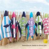Poncho de plage d'essuie-main de plage de velours de l'impression des enfants