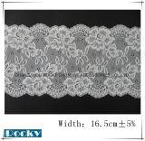 백색 자카드 직물 속옷 폭 16.5cm를 위한 나일론 레이스 손질