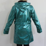 Pu Blue Hooded Raincoat voor Adult