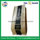 Sac de café avec le papier d'emballage et le fond plat et avec le zip-lock