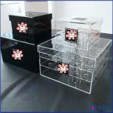 Caja transparente flor hermosa Negro acrílico blanco