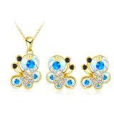 De goud Geplateerde Reeksen van de Juwelen van Butterly Necklace&Earrings van het Kristal (pcst0003-c)