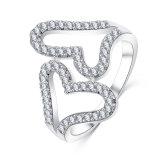 두 배 심혼 CZ 다이아몬드 Mirco가 포장한다 조정가능한 열리는 반지 (CRI1027)를