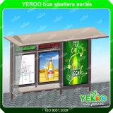 Acciaio inossidabile esterno che fa pubblicità al riparo solare della fermata dell'autobus della visualizzazione del tabellone per le affissioni