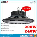 UFO Panel Design 200W Philips LED Meanwell Driver 5 Years Warranty IP65 LED High Bay Light