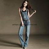 Das calças de brim clássicas das senhoras da sarja de Nimes da alta qualidade calças totais das mulheres