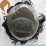 신식 인도 사람의 모발 피스 얇은 피부 남자의 Toupee