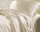 Taihuの雪の贅沢なジャカードアイボリーの継ぎ目が無いOeko-Texの絹の寝具シートセット