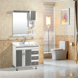 PVC Bathroom Cabinet、Ceramic Basin、5mm Silver Mirror
