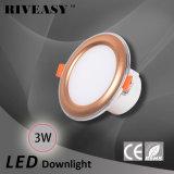 3W 2.5 plafonnier d'or du gestionnaire Integrated DEL de Ce&RoHS d'éclairage de pouce DEL Downlight