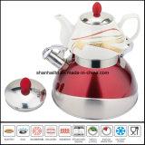陶磁器のやかんの鍋が付いているトルコ様式のステンレス鋼の2層水やかんまたは