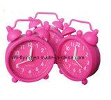 多色刷りのホーム装飾の双生児の鐘の居眠りの黙秘者のシリコーン表の小型目覚し時計