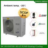 L'eau chaude 35kw/70kw/105kw de la Chambre +55c d'étage de mètre de l'hiver 100~350sq de la Suède/de Russie -20c Automatique-Dégivrent l'inverseur de C.C de pompe à chaleur d'air d'Evi