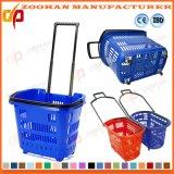 Plastiksupermarkt-Griff-Einkaufskorb mit Walzen-Rädern (Zhb77)