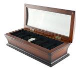Tipo de madeira Bombaim dos relógios do revestimento -6 - o vidro cobriu o caso