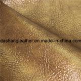 Cuoio lucido dorato del PVC di stile per la tappezzeria della mobilia del sofà