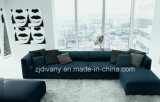 Sofá de cuero negro moderno de la tela de Divany D-62 determinado G (r) +H (l)