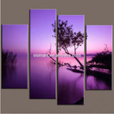 Home Decor를 위한 100% 손으로 그리는 Canvas Paintings Modern Purple Base Landscape Paintings Art Modern House Home Interior Decorator Home Decor Panels Oil Painting
