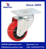 Parte girevole Stem Caster con Red Polyurethane Wheel & Side Lock Brake