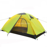 Tente bon marché de personne du Double couche 2, Tente vert imperméable à l'eau